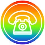 A creative old telephone circular in rainbow spectrum. An original creative old telephone circular in rainbow spectrum vector illustration