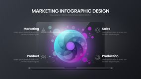 4 option circle marketing analytics vector illustration template. Notebook mock up. Business data infographic design layout. Creative 4 option circle marketing vector illustration