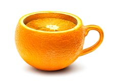 Orange cup isolated royalty free stock photo