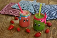 Creative organic smoothie for kids Royalty Free Stock Images