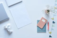 Creative and organised blogger desktop clean atmosphere. Creative interior royalty free stock image