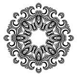 Creative ornament design. Black and white mandala. Hand drawn element. Anti-stress coloring page for adults Stock Image