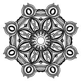 Creative ornament design. Black and white mandala. Hand drawn element. Anti-stress coloring page for adults Royalty Free Stock Photos
