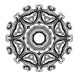 Creative ornament design. Black and white mandala. Hand drawn element. Anti-stress coloring page for adults Stock Photos