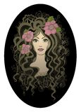 Creative oval vector illustration. Beautiful hand royalty free illustration