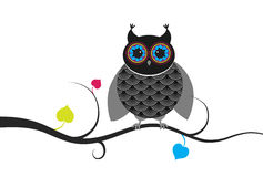Creative owl sitting on branch. Royalty Free Stock Images