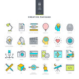 Creative package of line modern color icons Stock Photography