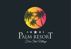 Creative Palm Resort Logodesign for tropical Village brand ident. Ity, company profile or corporate logos with clean elegant and modern style Stock Photo