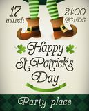 Creative Pamphlet, Banner or Flyer design with illustration of Leprechaun legs for St. Patrick s Day Party celebration. Stock Photography