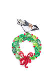 Creative paper bird and wreath on a white background. Quilling Royalty Free Stock Photography