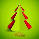 Creative paper Christmas tree on green background. simple. Illustration Royalty Free Stock Photo