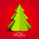 Creative paper Christmas tree on red background. simple  Stock Photography