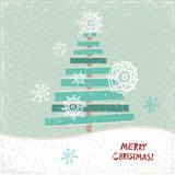 Creative paper Christmas tree. Vector Illustration. Festive Christmas card Vector Illustration
