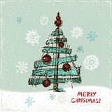 Creative paper Christmas tree. Vector Illustration. Festive Christmas card Royalty Free Illustration