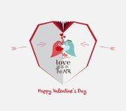 Creative paper heart. Happy valrnetine with couple birds Royalty Free Stock Photos