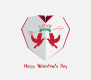 Creative paper heart. Happy valrnetine with couple dove Royalty Free Stock Photos