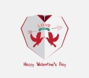 Creative paper heart. Happy valrnetine with couple dove Royalty Free Stock Photos