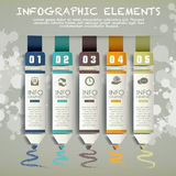 Creative paper pencil bar chart infographic elements Royalty Free Stock Images