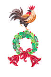 Creative paper wreath and rooster on a white background. Quillin Royalty Free Stock Photography