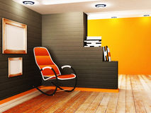 The creative partition and an armchair. Interior design scene  with the creative partition and an armchair Royalty Free Stock Images