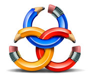 Creative Partnership. And collaborating ideas together as a connected business group network of curved pencil rings as a concept of team thinking and finding Stock Image