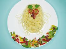 Creative pasta food bird shape Royalty Free Stock Image