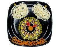 Creative pasta food clock shape stock photography