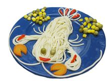 Creative pasta food crab shape royalty free stock photo