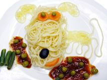 Creative pasta food dog shape stock images