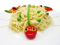 Creative pasta food ladybug shape royalty free stock image