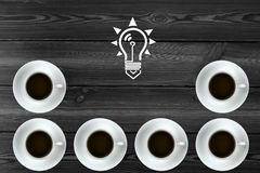 Creative pattern arrangement combination. Coffee and light bulb pattern arrangement combination Stock Image