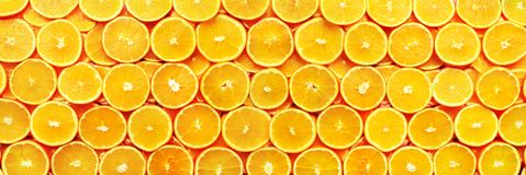 Creative pattern. Fresh sliced orange fruit texture. Macro, top view with copy space. Food frame. Juicy oranges. Background. banner stock photos