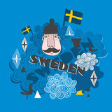 Creative pattern with swedish symbols. Royalty Free Stock Images