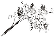 Creative pencil. Whit floral ornate and butterfly art concept Stock Images
