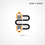 Creative pencil and book icon abstract logo design vector templa Stock Photos