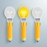3 Creative Pencil Bulbs Royalty Free Stock Images
