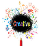 Creative pencil designs colorful concept illustration Stock Photos
