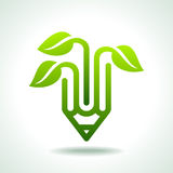 Creative pencil with green leaf Royalty Free Stock Image
