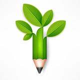 Creative pencil with green leaves Stock Images