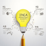 Creative pencil and hand-draw paper-cut bulb infographics Royalty Free Stock Images