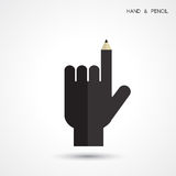 Creative pencil and hand icon abstract logo design vector templa Royalty Free Stock Image