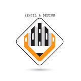 Creative pencil icon abstract logo design vector template. Corpo Royalty Free Stock Photos