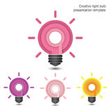 Creative pencil and light bulb design. Flat design style modern Royalty Free Stock Images