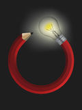 Creative pencil with a light bulb. Royalty Free Stock Images