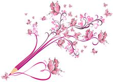 Creative pencil whit floral ornate. Art concept Royalty Free Stock Photography