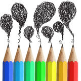 Creative pencils with abstract speech bubbles. Stock Photography