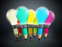 Creative pencils and light bulbs Stock Photo
