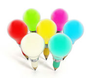 Creative pencils and light bulbs. Multi-colored creative pencils and light bulbs Royalty Free Stock Images