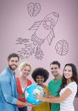 Creative people holding world globe with hand-drawn rocket and brains Royalty Free Stock Photography
