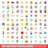 100 creative people icons set, cartoon style. 100 creative people icons set in cartoon style for any design illustration vector illustration
